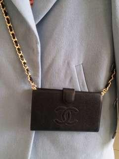 Chanel Vintage Caviar Wallet with chain 黑色魚子銀包(送鏈)