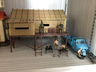 1/35 scale Village House, figurines, vehicle and accessories