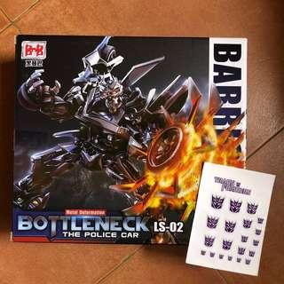 Transformers Black Mamba BMB - LS-02 LS02 Bottleneck plus 1 Decepticon Logo Decal Sticker (aka Barricade) (MISB)