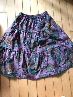 紫色花花半截裙