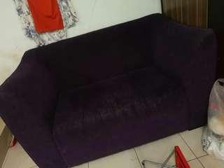 2 seater sofa purple colour fabric material condtion 10 to 9