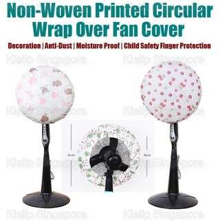 [Kibot-Home]Non-Woven Printed Circular Wrap Over Fan Cover/Washable Reusable Durable Dustproof Home Decorative Fan Anti-dust Cover/Stand Wall Table Fan Dust Protection Safety Protection Cover