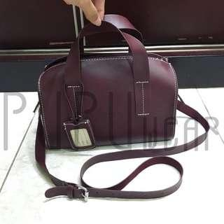 zara sling bag dark maroon PUPUwear