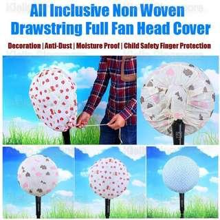 [Kibot-Home]All Inclusive Non Woven Drawstring Full Fan Head Cover/Cover Whole Fan Head Body/Washable Waterproof Reusable Durable Dustproof Home Decorative Fan Anti-dust Cover/Stand Wall Table Fan Dust Protection Safety Protection Cover