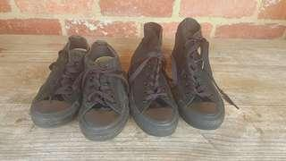 Converse All Black Shoes x2 High Top & Low Cut US 6 & US 7 FREE POST