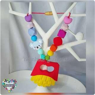Fries Teether with rainbow beads Carrier Accessory
