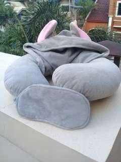 Grey neck pillow (with hood and mask)