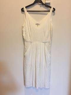 DKNY White V Neck V Back Dress