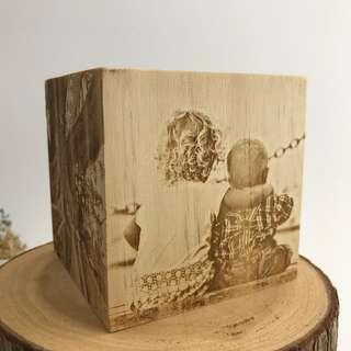 🚚 Image Engraving on Wooden Cube