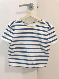 Zara Blue White Stripe Top