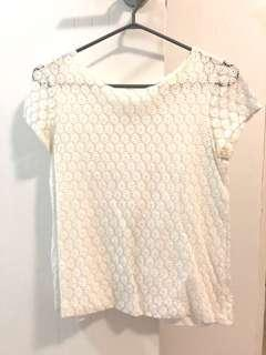 Zara Lace White Top Blouse