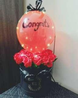 30 Red Soap Roses Bucket with LED Fairy light & Balloon For Only RM120.00