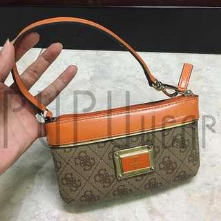 guess small purse orange brown motif PUPUwear