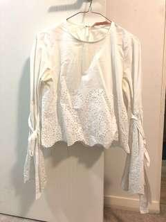 Zara White Top Bell Flare Sleeves
