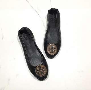 Tory burch minnie ballet flats black gold size 7.5