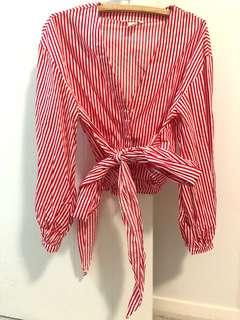 H&M Red White Stripe Shirt Top with Bow