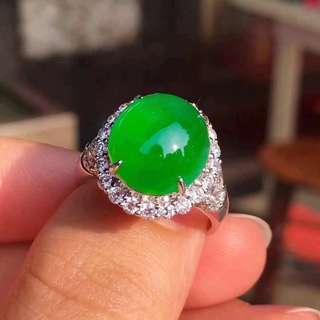 詢價-高冰陽綠蛋面戒指 Natural jadeite jade (Fei cui) type A