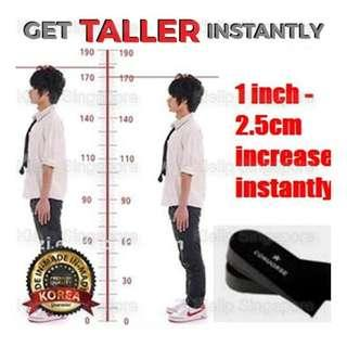 "[Kibot-女人我最大]Japan 1"" Universal Heel Lift Shoe Height Increasing Half Insoles/Get 2.5cm Taller Instantly Air Cushion Form Anti-Slip Protect Heel Unisex Comfortable Non Sticky Height Increase Insole"