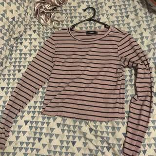 pink navy strip ribbed long sleeve top