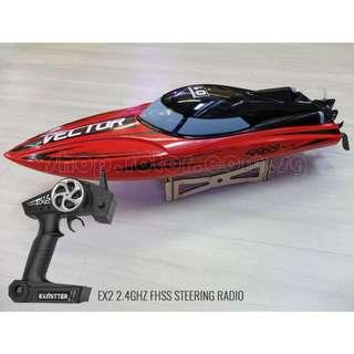 Up to 55km/h, Racent Vector SR65 Auto-roll-back advanced Deep-V Racing boat with EX2 Transmitter, RED, Ready-to-run, RTR. Code: V792-5-RTR