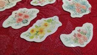 9pcs. Floral stickers