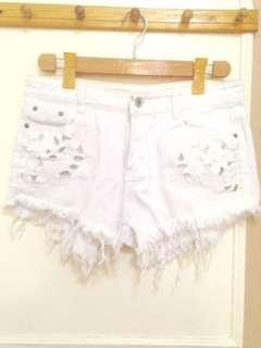 Like New Distressed Laced Shorts