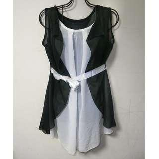 正韓 KOREA 黑白拼接 蝴蝶結綁帶 荷葉邊造型 雪紡 上衣