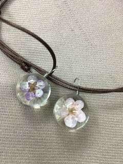 日本櫻花標本水晶鏈項鍊