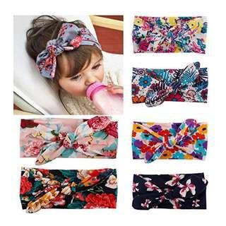 [Ready Stock] Cute Baby Cotton Bow Hair Band Printing Floral Headband