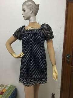 八成新Caifangli品牌M號深藍色白色圓圈小洋裝
