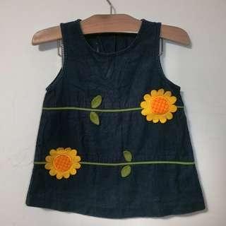 直條絨 太陽花 深藍色洋裝 連衣裙