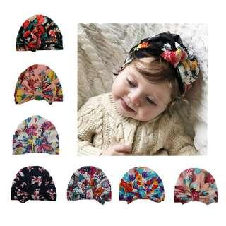 [Ready Stock] Baby Soft Floral Printed Turban Hat Warm Bonnet with Bowknot
