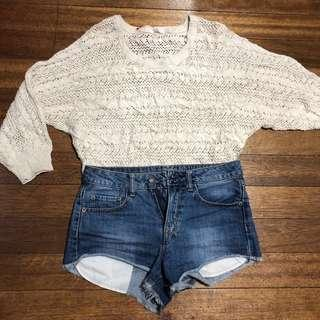 White Knitted Boho Top / Cover Up