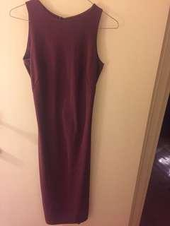 H&M maroon midi dress size 4