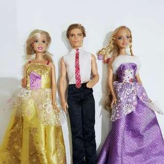 3 Barbie Ken Mattel Authentic Asli