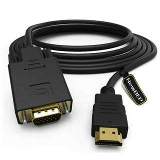 -1449-HDMI to VGA Adapter Cable, NewBEP 6ft/1.8m Gold-Plated 1080P HDMI Male to VGA Male Active Video Converter Cord Support Notebook PC DVD Player Laptop TV Projector Monitor Etc