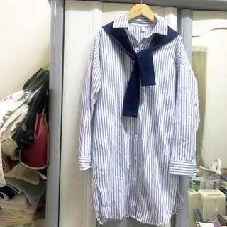韓 韓風 韓系 長版襯衫 襯衫洋裝 假兩件 開衩 開叉 條紋 直條紋 文青 學院風 文青風 單穿 披肩