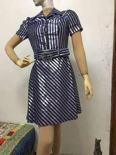 近全新只穿一次Ltd Centen品牌9號金屬光折藍紫色洋裝