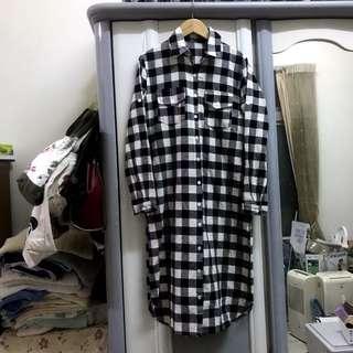 韓 韓風 韓系 格子襯衫 超長版 長版襯衫 襯衫洋裝 罩衫 日系 格紋 超長版襯衫 過膝襯衫 小腿肚
