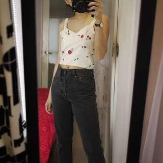 Cream Cherry Crop Top