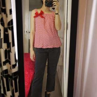 H&M Red Checkered Sleeveless Top