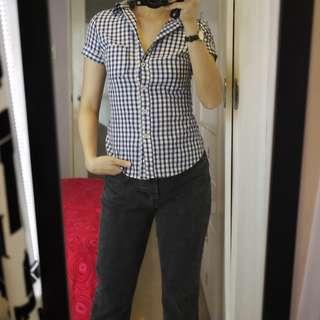 Topshop Blue Checkered Blouse