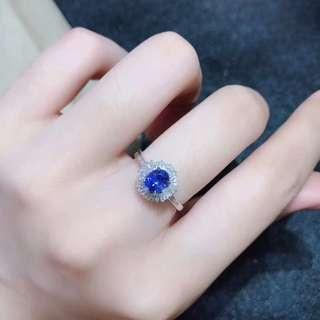 1.3ct-Natural blue sapphire diamond ring 天然藍寶石鑽石戒指