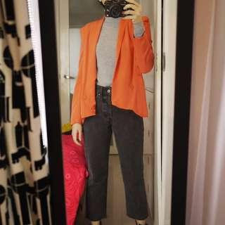 Bright Orange/Salmon Pink Blazer with Lilac inner lining