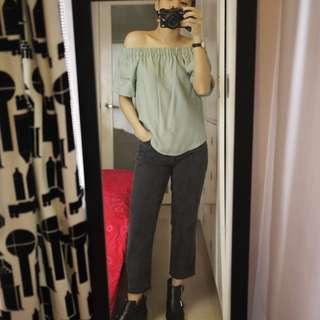 H&M Light Green / Mint Off Shoulder Top