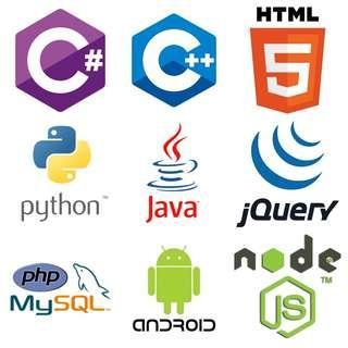 C# C++ HTML CSS Python Java jQuery PHP MySQL Oracle Database NodeJS ReactJS React Native Android
