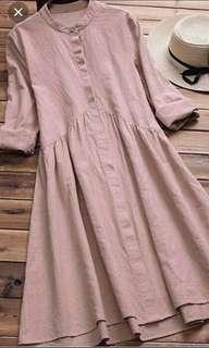 #SINGLES1111 Women Vintage Plain A-Line Button Down Dress