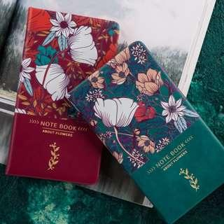 PO Illustrated Flower Print Floral Pattern Note Book Notebooks Journal 3 Colours A6