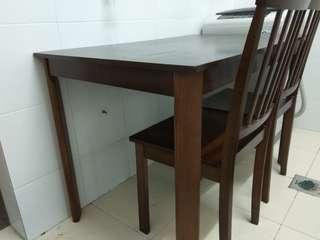 Like new Solid wood dining study table and 2 chairs