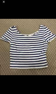 h&m white and blue stripes crop top